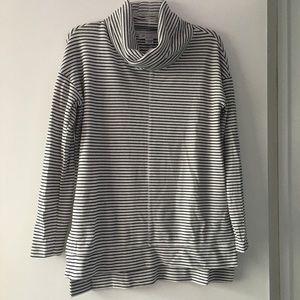 Cowl neck black and white stripe tunic sweater